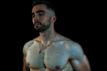 Man with muscled chest